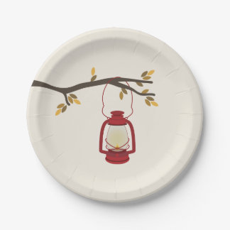Red Camping Lantern Autumn Tree Branch 7 Inch Paper Plate