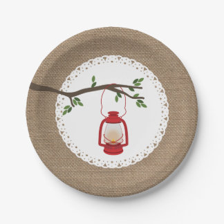 Red Camping Lantern - Burlap Inspired Paper Plate