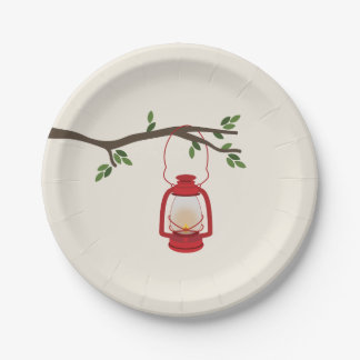 Red Camping Lantern Tree Branch 7 Inch Paper Plate