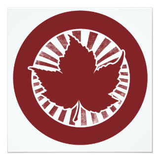 Red Canadian maple leaf 13 Cm X 13 Cm Square Invitation Card