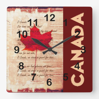 red canadian maple leaf with athem canada square wall clock