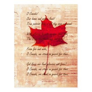 red Canadian maple leaf with national anthem Postcard