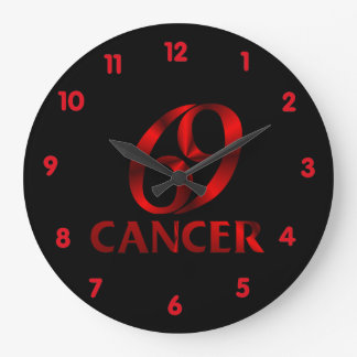 Red Cancer Horoscope Symbol Large Clock
