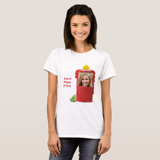 Red Candle, Green Frog - Insert Photo & Text - T-Shirt