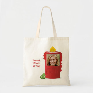 Red Candle, Green Frog - Insert Photo & Text - Tote Bag