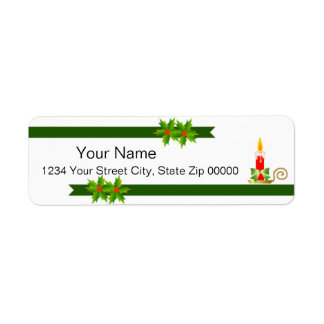 Red Candle Holiday Return Address Label
