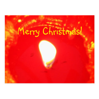 Red Candlelight Flame , Candle, Merry Christmas Postcard
