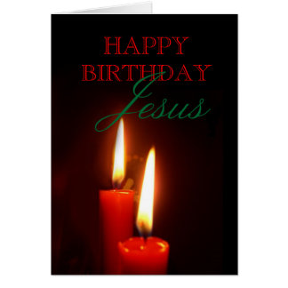Red Candles Jesus Birthday Card