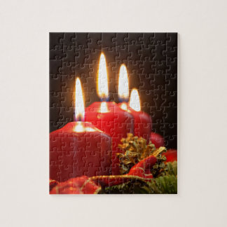 Red candles of an Advent wreath with fir branches Jigsaw Puzzle