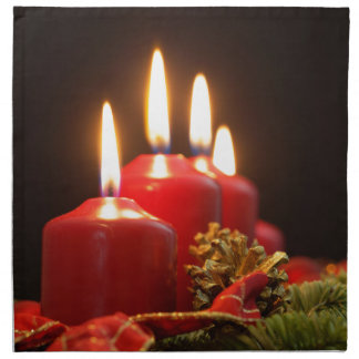 Red candles of an Advent wreath with fir branches Napkin
