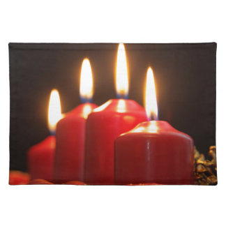 Red candles of an Advent wreath with fir branches Placemat