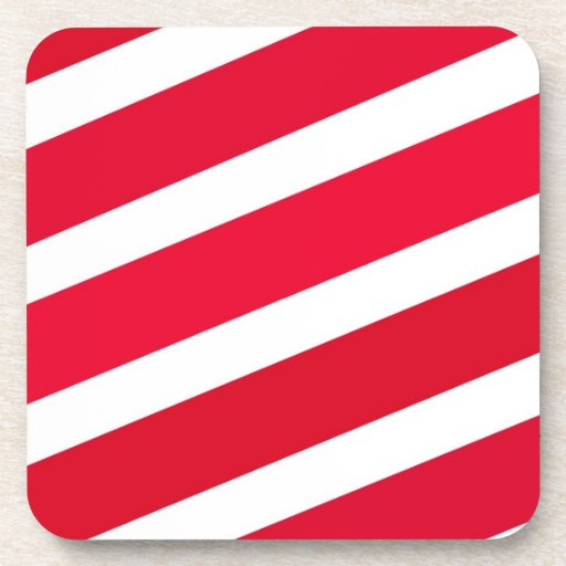 Red Candy Cane Stripes Beverage Coaster