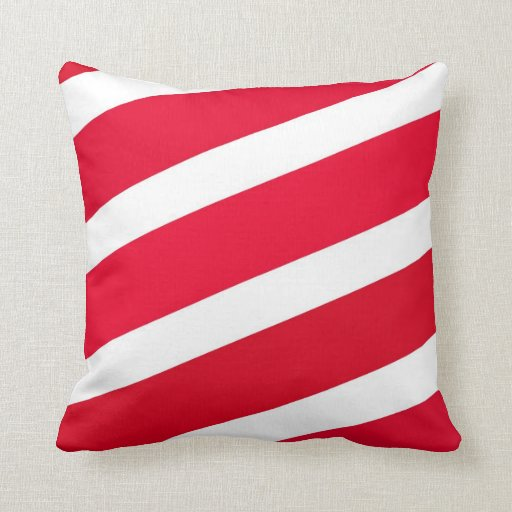 Red Candy Cane Stripes Pillow