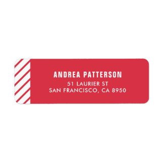 Red Candy Cane Stripes Pattern Holiday Return Address Label