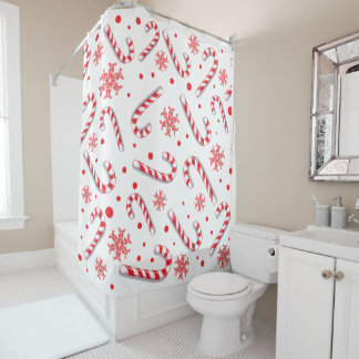 Red candy canes snowflakes - Christmas gifts Shower Curtain
