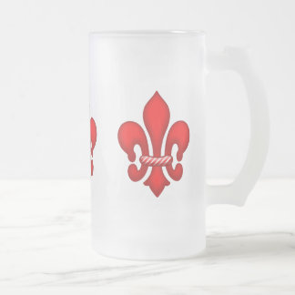 Red Candy Fleur de lis Frosted Glass Mug