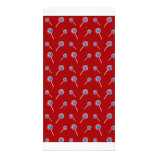 Red candy pattern photo cards