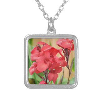 Red canna flowers silver plated necklace