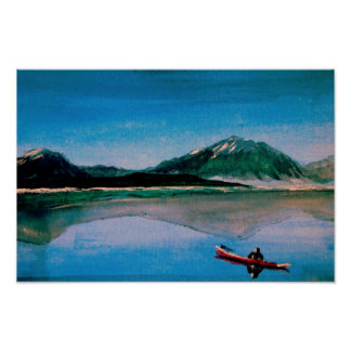 Red Canoe on Dillon Lake Poster