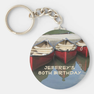 Red Canoes 80th Birthday Personalized Keychain