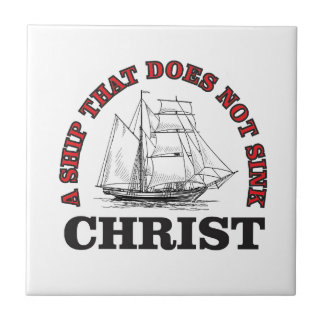 red cant sink Christ Small Square Tile