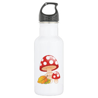 Red Cap Toadstool Mushrooms and Leaves 532 Ml Water Bottle