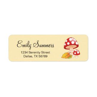 Red Cap Toadstool Mushrooms with Leaves Address Return Address Label