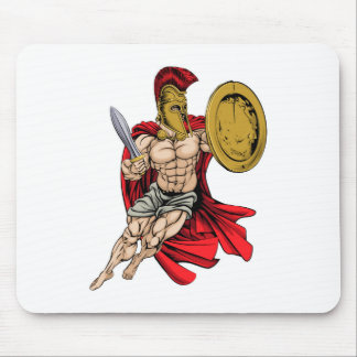Red Caped Greek Warrior Mouse Pad