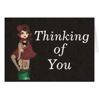Red Caped Quantum Cutie is Thinking of You Card