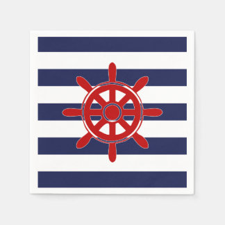 Red Captain's Wheel & Navy Horizontal Stripes Paper Napkin