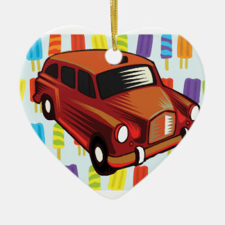 red car and Popsicle's Ceramic Heart Decoration