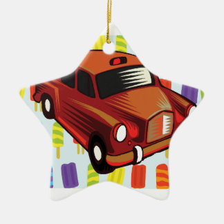red car and Popsicle's Ceramic Star Decoration