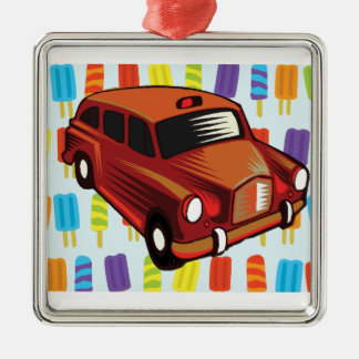 red car and Popsicle's Silver-Colored Square Decoration