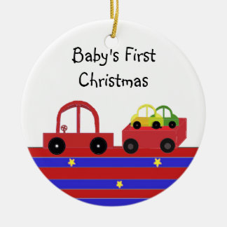 Red Car and Wagon Baby's First Christmas Round Ceramic Decoration
