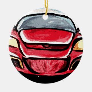 Red car ceramic ornament