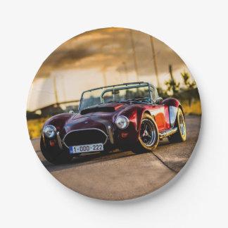 Red car.Classic car Paper Plate