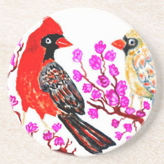 Red Cardinal Art3 Sandstone Coaster