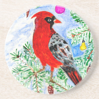 Red Cardinal Art Drink Coasters