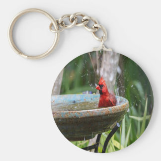 red cardinal basic round button key ring