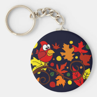 Red Cardinal Bird and Autumn Leaves Abstract Art Key Chain