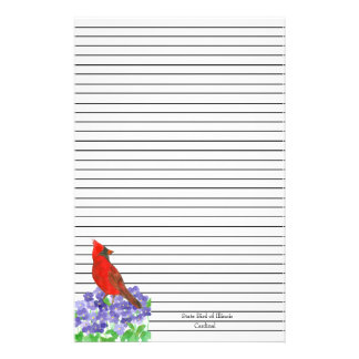 Red Cardinal Bird Black Lined Stationery
