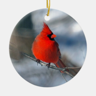 Red Cardinal Bird Ceramic Ornament