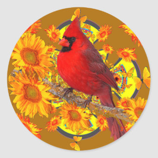 red cardinal bird classic round sticker