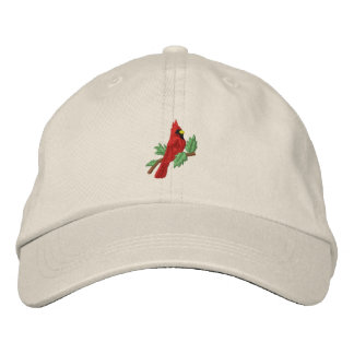 Red cardinal bird embroidered women's hat