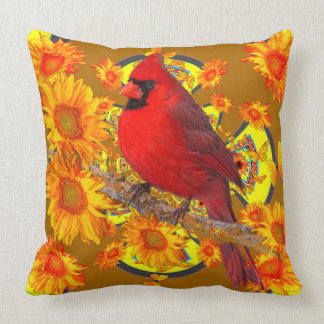 RED CARDINAL BIRD GOLDEN SUNFLOWERS ART CUSHION