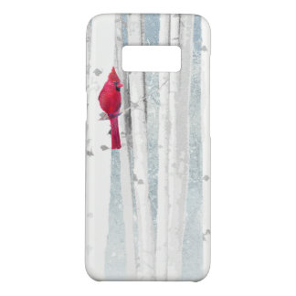 Red Cardinal Bird in beautiful snowy Birch Tree Case-Mate Samsung Galaxy S8 Case