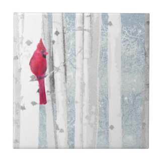 Red Cardinal Bird in beautiful snowy Birch Tree Ceramic Tile