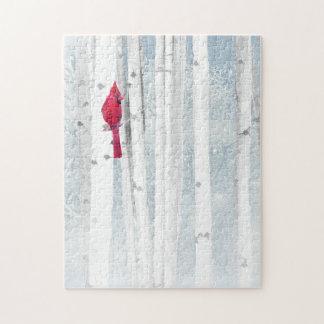 Red Cardinal Bird in beautiful snowy Birch Tree Jigsaw Puzzle
