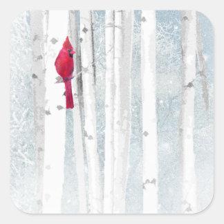 Red Cardinal Bird in beautiful snowy Birch Tree Square Sticker