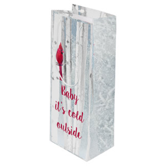 Red Cardinal Bird in snowy Birch Tree Quote Wine Gift Bag